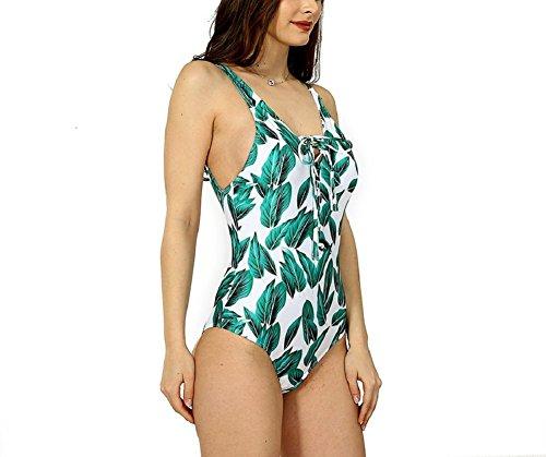 Shangrui Donna Costume da Bagno Serie Stampato Fionda Reggiseno Imbottito Costume da Bagno di un pezzo(FZEH1604) Verde