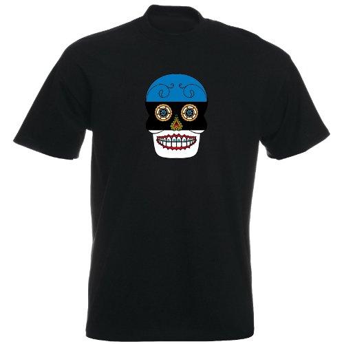 T-Shirt - Estland - Sugar Skull - Fahne - Herren - unisex Schwarz
