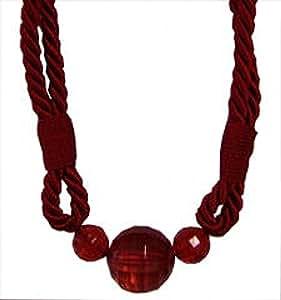 Embrasse de rideaux en corde avec perles 80 cm (1 pièce)-Rouge