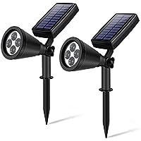 Luz Solar YIPIN Foco Solar de 4 LED, Focos led exterior de con Sensor de Movimiento, Focos para Pared de Luz de Solar, Led Solar Movimiento para Jartín Casa Camino Escaleras Pared 2 packs