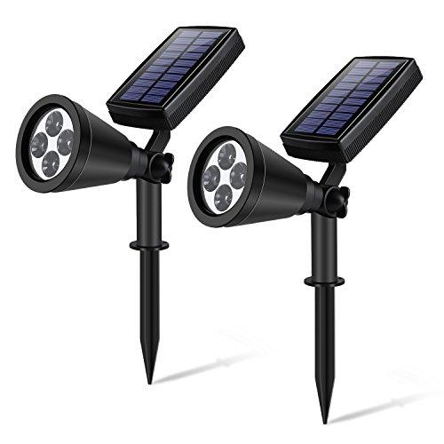 YIPIN Solar Gartenleuchten LED Solarleuchten 200 Lumen Wasserdicht 180 °einstellbar Garten Strahler Outdoor Landschaft Beleuchtung In-Boden-Licht solar light für die Hinterhöfe Gärten Rasen usw 2Stück