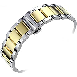 15mm Gorgeous Narrow Watch Bracelets Replacement Luxury Solid Stainless Steel Dual Tone Silver and Gold