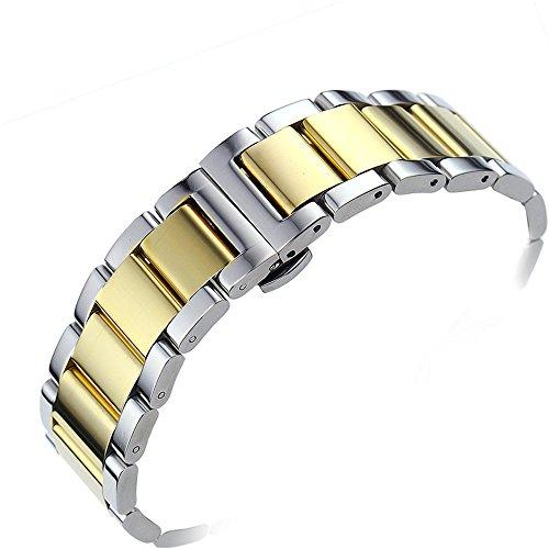 acciaio inossidabile solido 24 millimetri durevole sostituzione braccialetto cinturino regolabile collega due toni finitura argento e oro