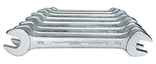 GEDORE 6-8 Doppelmaulschlüssel-Satz, Ausführung nach DIN 3110, hochwertige Industriequalität, Köpfe feingeschliffen, Blendfrei-Optik durch mattes Verchromen, 8-teilig, 6-22 mm