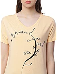 Wolfpack Outdoor Orange Sparrow Printed V Neck 100% Cotton Girls/Womens T Shirt for Bird Lovers
