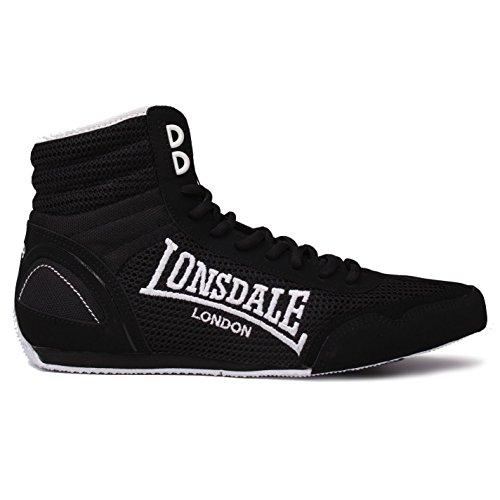 Lonsdale Herren Contender Boxschuhe Boxen Stiefel Sport Extra Leicht Schuhe Schwarz/Weiß 7 (41) - Schuhe Boxing Weiß