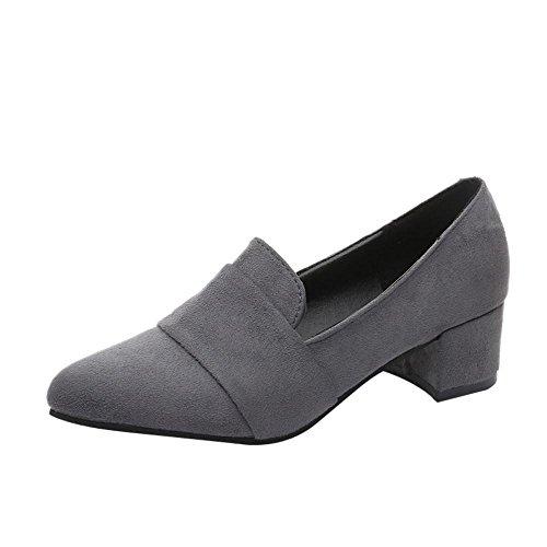 SOMESUN Spring Shoes Shallow Shoes, Scarpe Casual Primaverili Per Donna Scarpe Scamosciate Con Punta A Punta In Pelle Scamosciata Smerigliata Gray