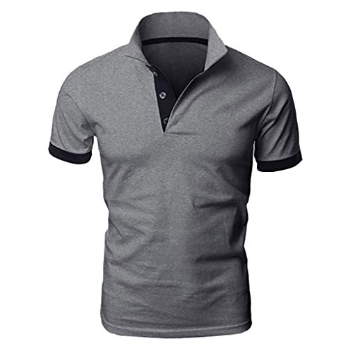 Makefortune  Men's Short Sleeve Polo Shirts Contrasting Colors Golf Tennis T-Shirt Button Down T-Shirts Summer Light Weight Breathable Men's Shirt