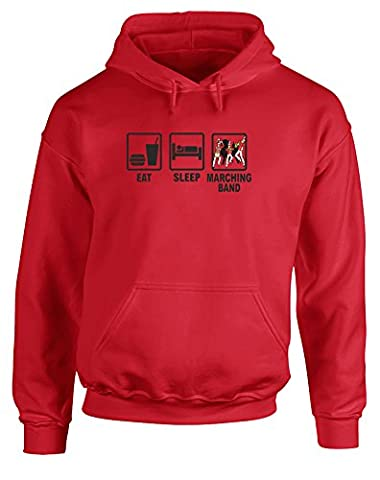 Eat Sleep Marching Band, Gedruckt Hoody - Pullover - Rote/Schwarz/Transfer