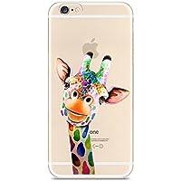 CrazyLemon iPhone 7 Hülle, iPhone 8 Hülle, Bunt Niedlich Muster Soft Flex Silikon Transparent Bumper Handyhülle für iPhone 7 / iPhone 8 Case Cover 4.7 Zoll - Bunte Giraffe
