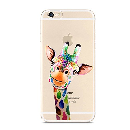 CrazyLemon iPhone 7 Hülle, iPhone 8 Hülle, Bunt Niedlich Muster Soft Flex Silikon Transparent Bumper Handyhülle für iPhone 7 / iPhone 8 Case Cover 4.7 Zoll - Bunte Giraffe
