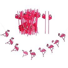 Gazechimp 25 Piezas Pajitas de Plástico Accesorio de Bebida de Fiesta de Luau Hawaiano +1 Pieza Bandera Guirnalda Tropical Diseño con Flamingo