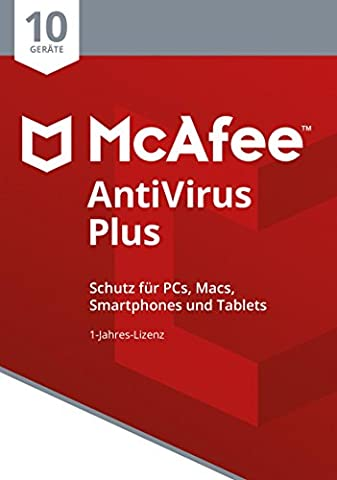 McAfee AntiVirus Plus 2018 | 10 Geräte | 1 Jahr | PC/Mac/Smartphone/Tablet | Code in a Box