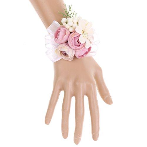 Magideal fiori artificiali corsage da sopsa damigelle dame braccialetto di cerimonia nuziale - lotus colore, 9 x 7 x 3,5 cm