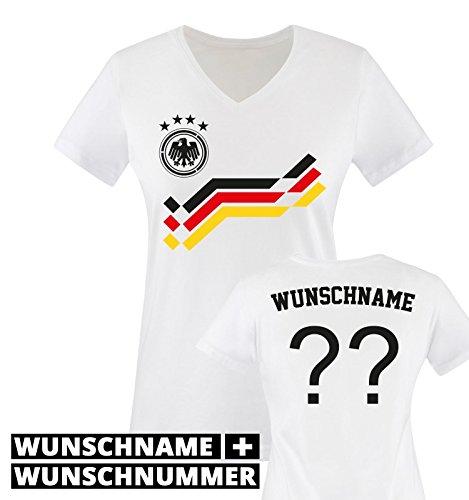 EM 2016 - RETRO-TRIKOT - WUNSCHDRUCK - Damen V-Neck T-Shirt - Weiss / Schwarz-Rot-Gelb Gr. S