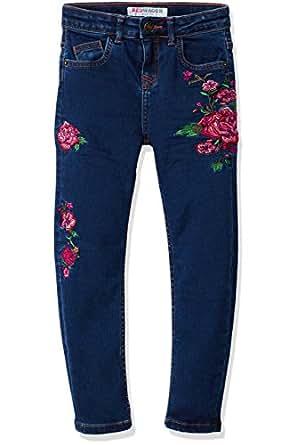 RED WAGON EmborideredJeans Bambina, Blu (Multi), 104 (Taglia Produttore: 4 Anni)