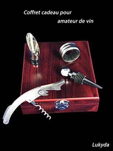 Générique - cofanetto accessori per vino, legno, intérieur noir, 14,5x16,5x4,5 cm