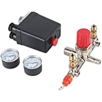 sdfghzsedfgsdfg 40343 Interruptor de presión Ajustable Compresor de Aire Interruptor de presión con 2 calibradores de