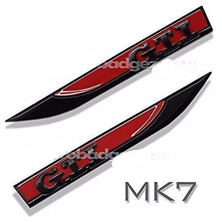 Chrom-Seitenschild für GTI Golf 7 6 5 MK4 MK5 MK6 MK7 V VI VII POLO (Schwarz Rot)