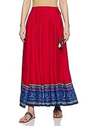 Akkriti By Pantaloons Rayon a-line Skirt (110049671_ Fuchsia_ Small/Medium)
