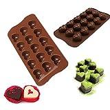 Tumao 2 Stück Silikonform mit Herzen, Silikon Schokoladenform Kuchenform Backform für Party, Geburtstag, Valentinstag, Liebe, Romantik