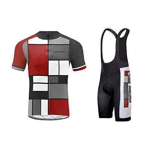 Uglyfrog Fahrradtrikot Set Kurzarm Trikot + Radlerhose mit Sitzpolster aus Atmungsaktiv und Schnell Trockend Stoff für Fahrrad Rennrad MTB (Cristiano Ronaldo-trikot-kit)