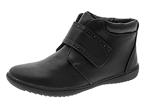 Womens Comfortable Flat Chelsea Gusset Faux Leather Ankle Boots Work Casual Warm Winter Hook And Loop Ladies Black Size UK 5