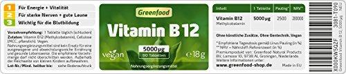 Vitamin B12 (Methylcobalamin), 5000 µg, extra hochdosiert, 90 Tabletten, vegan – wichtig für Nervensystem und Denkvermögen, stimmungsaufhellend. OHNE künstliche Zusätze. Ohne Gentechnik. - 2