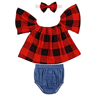 Kids Baby Girls Off-Shoulder Short-Sleeve Plaid Tops Elastic Waist Short Pants Bowknot Headband Outfit Clothes Set(12-18M) Red