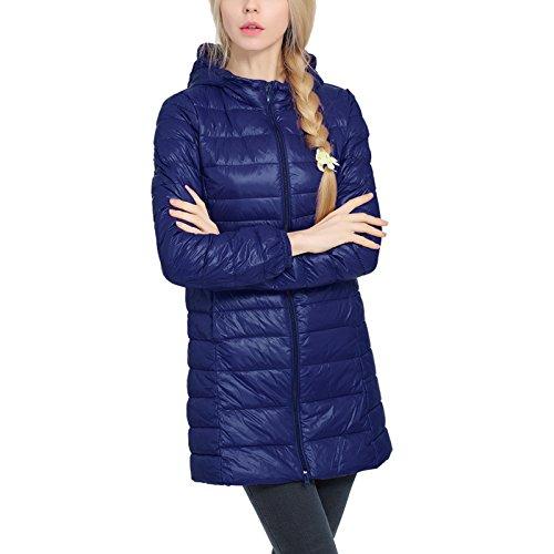 iBaste Donne guaina giacca invernale cappotto invernale Steppmantel giacca con cappuccio outwear Blu