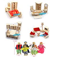 DecoBay Wooden Dolls House Furniture 4 Sets Bedroom, Kitchen, Bathroom and Living Room with 6 Family Dolls
