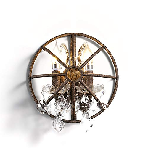 Dalun Retro Wandleuchte, Vintage Industrie Vogelkäfig Kristall 2 Kopf Wandleuchte, E27 Sockel Metall Basis Wandleuchte Licht Für Küche Wohnzimmer Schlafzimmer -