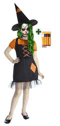 Karneval-Klamotten Hexe Zombie Kostüm schwarz orange Grusel Hexen-Kostüm -