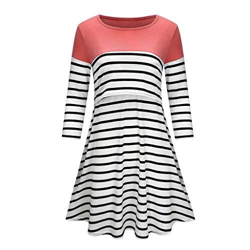 LSAltd Umstandskleid, Frauen Farbe Gestreiftes Minikleid Beiläufige Langarm Schaukel Stillen Kleid