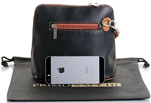 Italiano in morbida pelle, piccole/Micro croce corpo borsa o borsetta borsa a tracolla.Include una custodia protettiva. Black & Tan