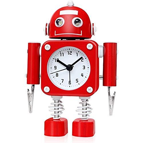 Hammer non-ticchettio robot sveglia acciaio metallo - orologio sveglia con flashing lights occhio e mano della clip, sveglia con luce notturna, accessori for la casa, fumetto sveglia for gli studenti
