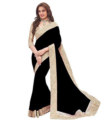 Elexsis Fashion Women's Chiffon Silk Saree With Blouse Piece (El Priya Black)