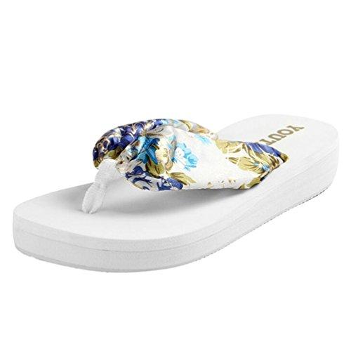 Yiiquan Donna Estate Sandali Pantofole Zeppa Infradito Spiaggia Sandali Bianco #2