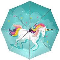 MALPLENA - Paraguas automático de Unicornio para Hombre y Mujer, Ideal para Regalo, Unisex