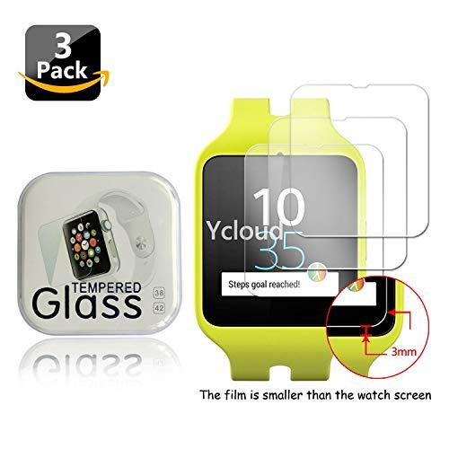 Ycloud [3 Stück Panzerglas Folie Schutzfolie Bildschirmschutzfolie für Sony SWR50 Smartwatch 3 Smartwatch mit Härtegrad 9H, 0,26mm Ultra-Dünn, Abger&ete Kanten
