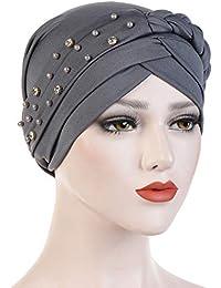 875dbf9e02547 Aisoway Estiramiento Turbante Sombrero Plisado Abrigo De La Cabeza del Capo  Indio Sombrero Musulmán De Las Mujeres para El Cáncer De…