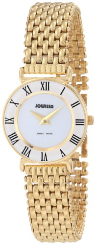 Jowissa Roma Women's Quartz Watch with White Dial Analogue Display and Gold Stainless Steel Bracelet J2.029.S