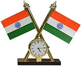 Carsaaz Universal Car Dashboard Indian Flag with Clock