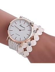 Relojes Pulsera Mujer,Xinan Flores Reloj de Cuarzo Brillante (Blanco)