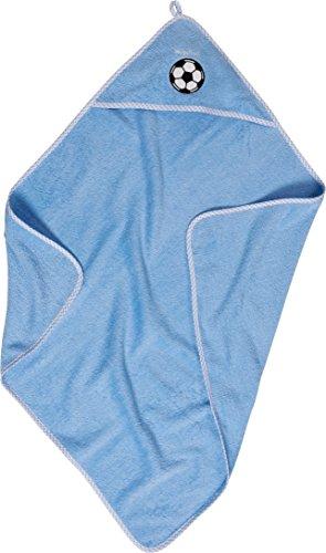 Playshoes Baby - Jungen Bademantel 340107-17 Kuschelweiches Frottee - Kapuzentuch mit Fußball Stickerei, Maße ca. 75x75 cm, Gr. one size, Blau (17 bleu)