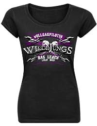 Wilde Jungs - Vollgaspilotin Girlie-Shirt mit Rückendruck