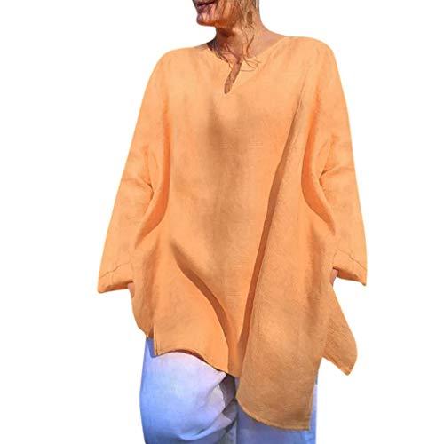OverDose Damen Casual Übergröße Unregelmäßige Mode Lose Leinen Kurzarm Shirt Vintage Bluse Fest Hemd Lang Tank Tops T-Shirt Freizeit Oberteile Tees (EU-44/CN-XL, B-Gelb) -