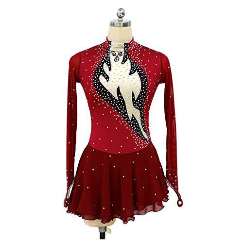XIAOY Eislaufen Kleid für Frauen und Mädchen Handarbeit Eiskunstlauf Leistung Kristalle Nylon Langärmelig Eislauf Kleider,Red,XXXL