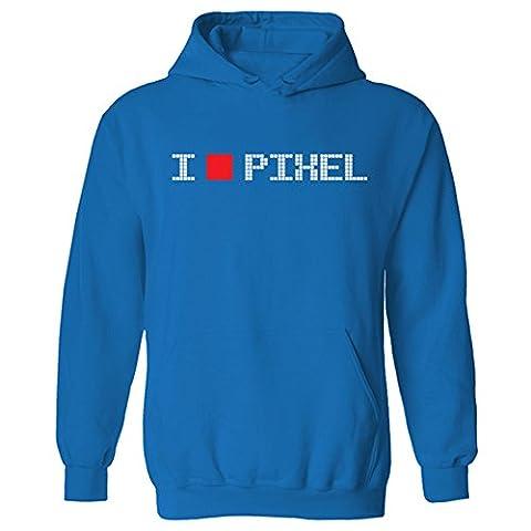 Womens I Love Pixel Geek Nerd Gamer Retro Funny Pullover Hoodie Sapphire Blue UK 16 (W-XL)