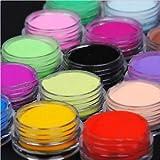 SLB Works 18 Colors Acrylic Nail Art Tips UV Gel Powder Dust DIY